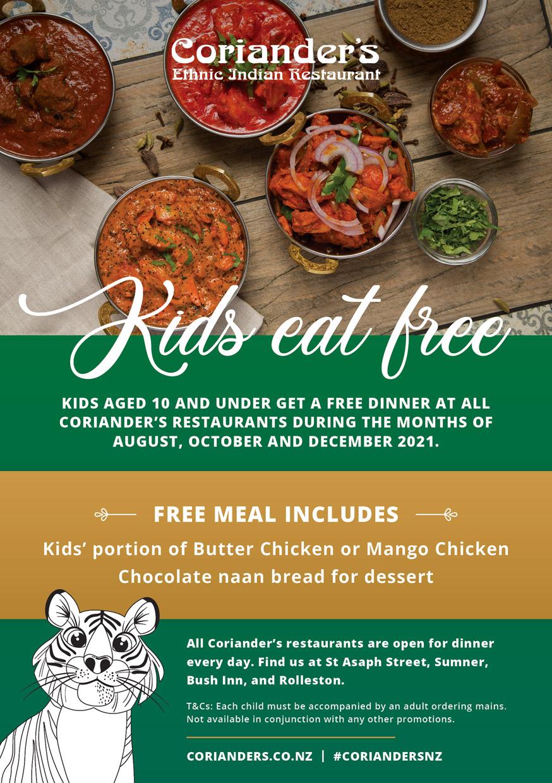 Kids eat free at Coriander's